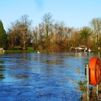 River Thames in Flood, Weybridge, England,