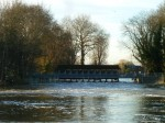 Weybridge Weir, water levels nearly equal both sides of the weir