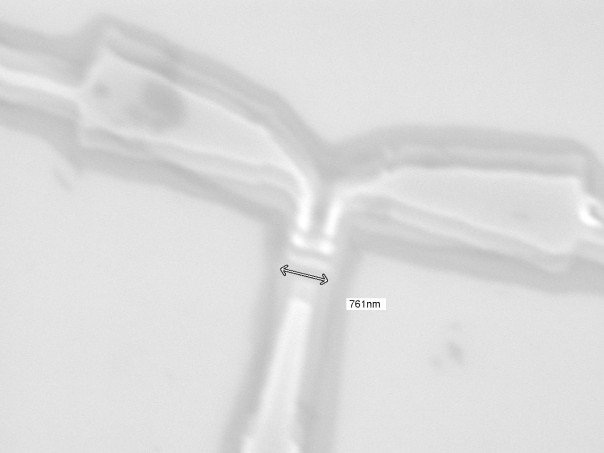 Image of our Single Electron Transistor from the Electron Beam Scanning Microscope  nm means (1/1000000000 of a meter)