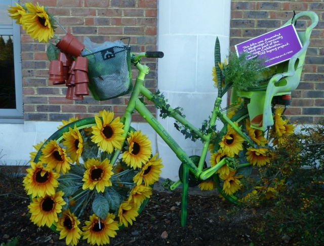 Green Bike with Sunflowers