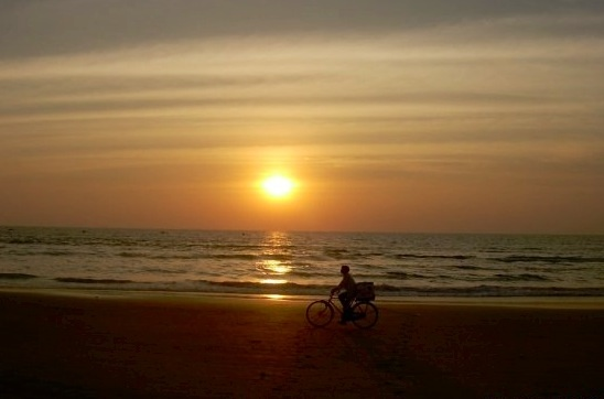 Bike at sunset, Goa, India
