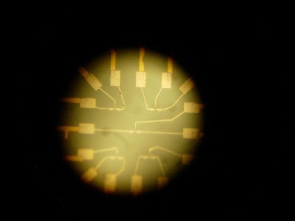 Looking at the chip we were working on through an optical microscope at a resolution of 150x