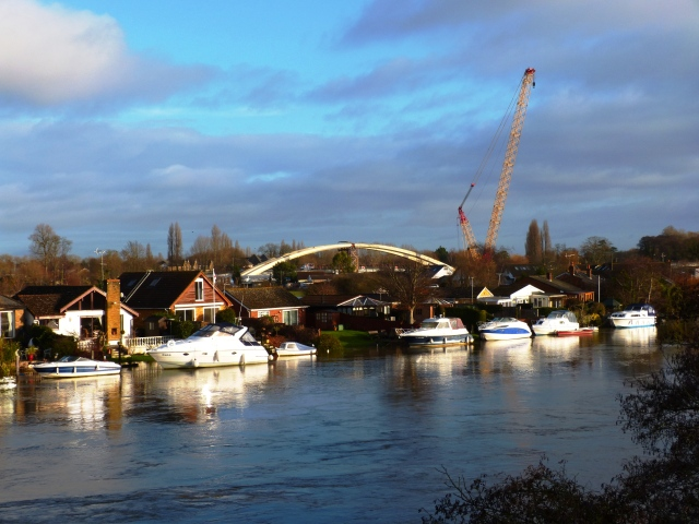 Thames in Flood at Walton, with the New Bridge appearing in the background