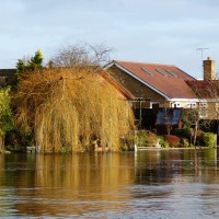 River Thames in Flood, Walton-On-Thames, England