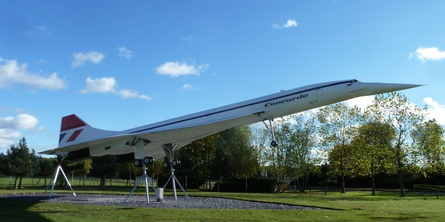 Model of Concorde at the entrance to Mercedes Benz at Brooklands