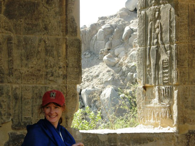 Sheltering from the searing sun at the temple of Isis