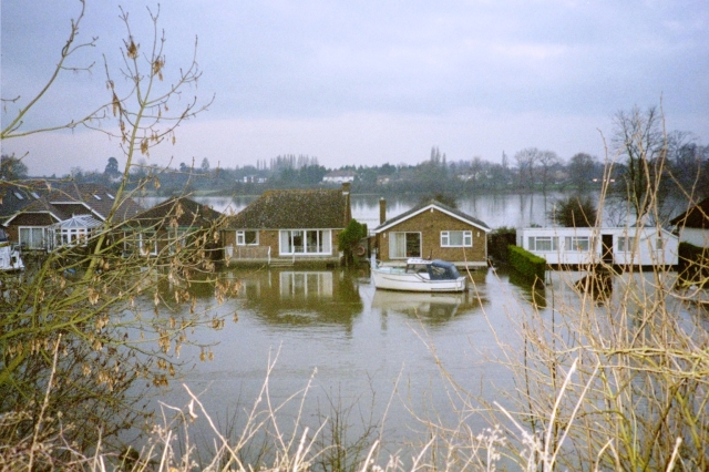 Houses near Walton Bridge.  These are built on stilts, but they can't get there except by boat when the water is this high