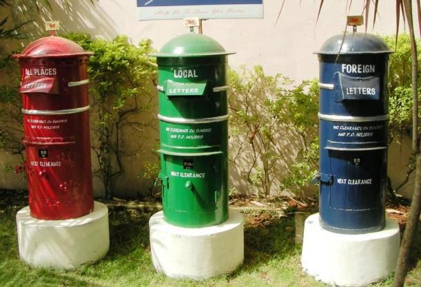 Red Green and Blue Post Boxes in Thiruvananthapuram