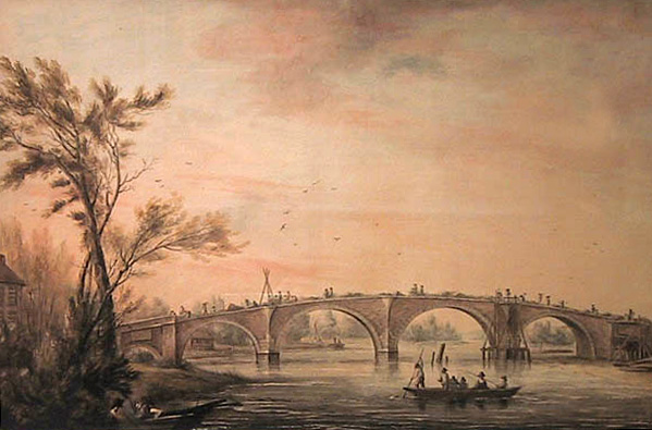 Architectural watercolour of Walton Bridge designed by James Paine, 1784