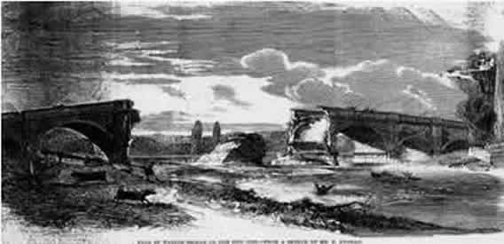 The bridge lasted for 73 years when in August 1859 the two centre arches fell into the River. The collapse was thought to be due to settlement of the central support pier.