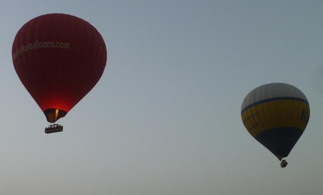 Arriving at the airfield, some balloons already in flight