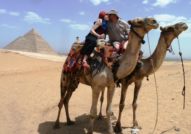 Honeymoon, Egypt, Pyramids, Camels, Kiss, Didn't fall off!, Phew, Perfect
