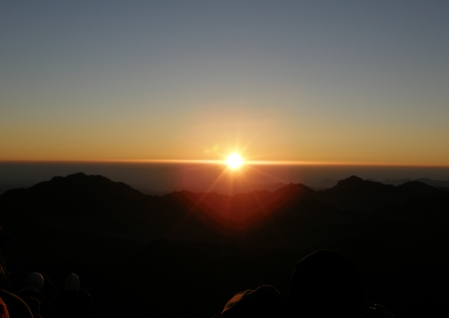 Watching the sunrise from the Summit of Mount Sinai, Moses' Mountain