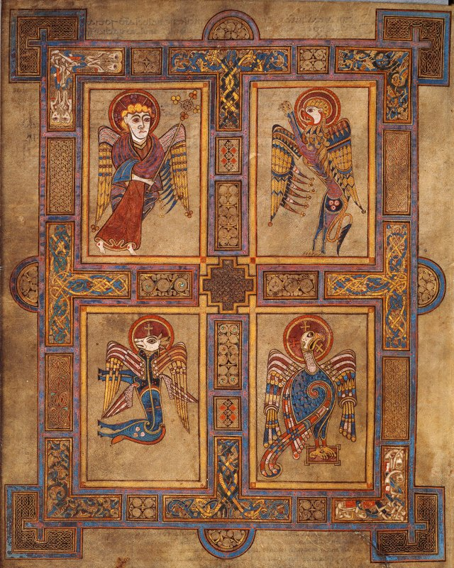 The four Evangelists from the Book of Kells http://tcld.wordpress.com/2013/03/15/book-of-kells-now-free-to-view-online/