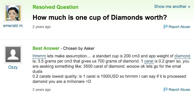 A cup of diamonds