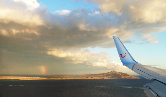 Rainbow over Tiran Island and Saudi Arabia