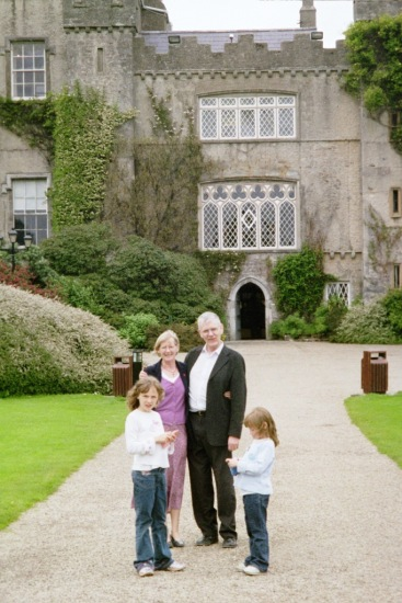 Mum & Dad & the girls outside Malehide Castle, Dublin, May 2003