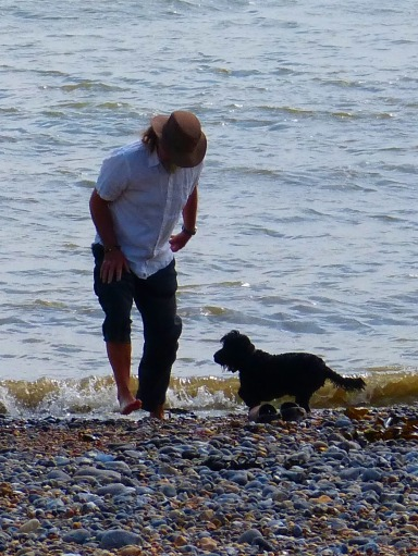 Paddling in the sea with Wilson