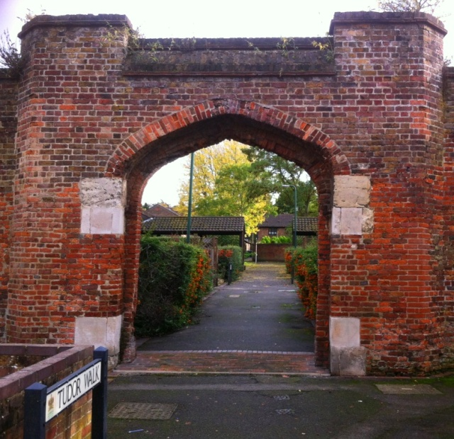 The gate viewed from Tudor Walk
