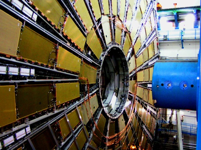 One of the end caps of the ATLAS detector in CERN