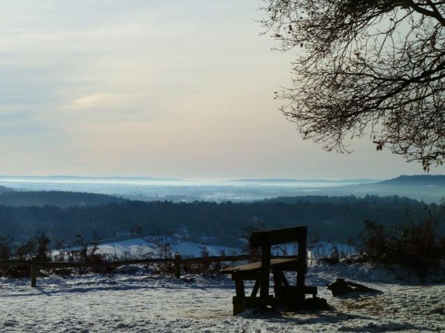 A wintry day on St Martha's Hill in Guildford