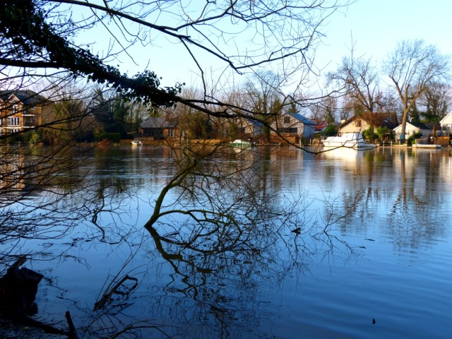 River flooding at Walton Bridge