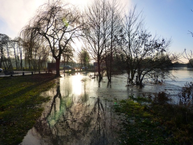 The river encroaching on the footpath