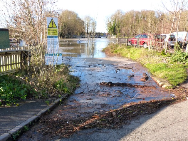 Water lapping the road at the top of the slipway at Weybridge Jan 9th 2014