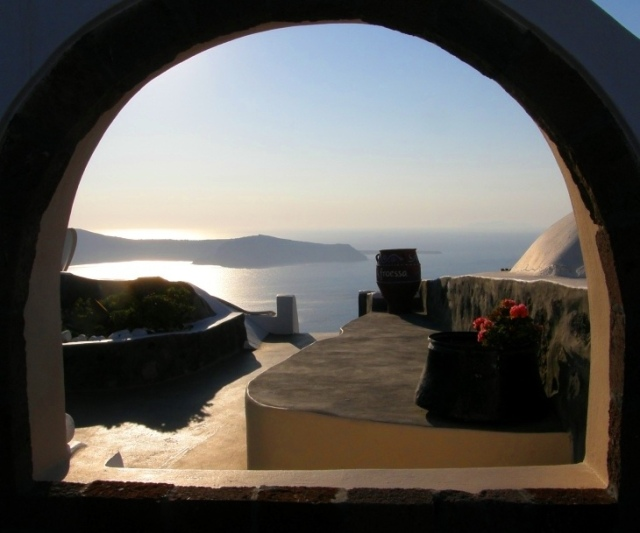 A window in Santorini, overlooking the caldera