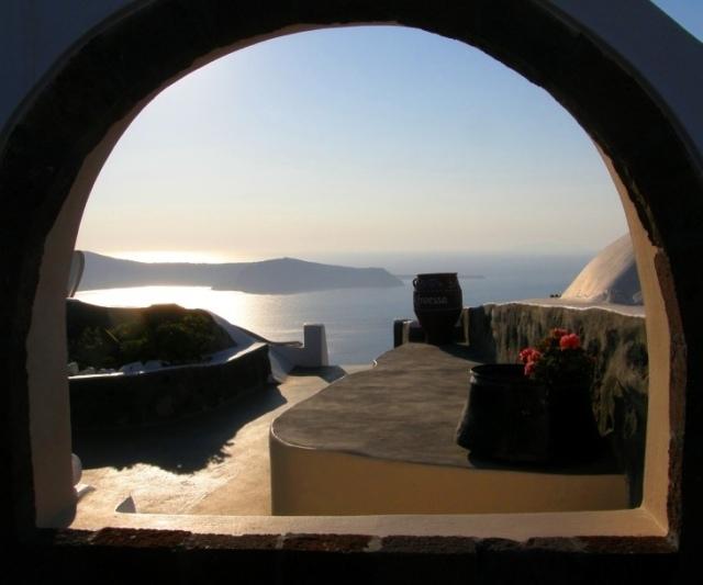 A window in Santorini, overlooking the caldera