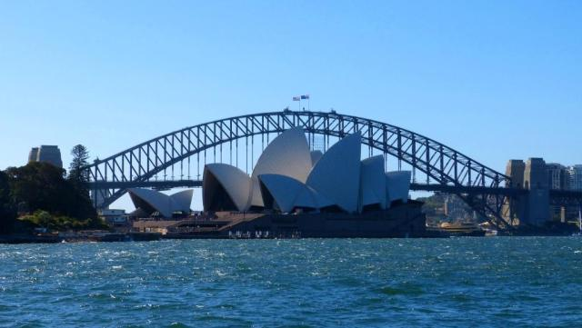 The Opera House and Sydney Harbour Bridge, surrounded by blue!