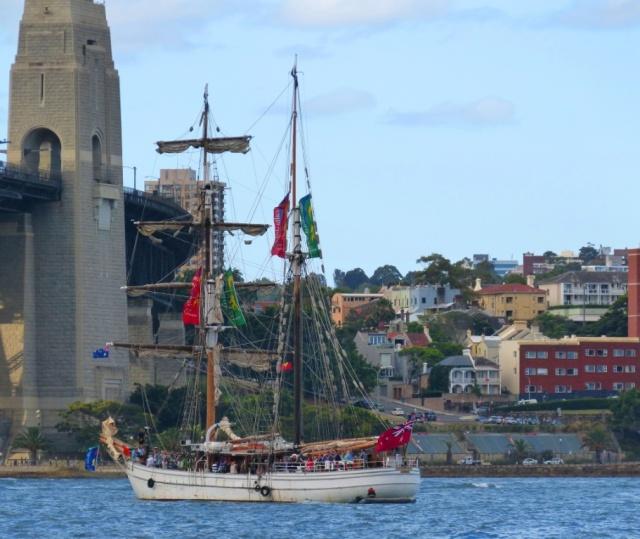 A sailing boat near Sydney Harbour Bridge