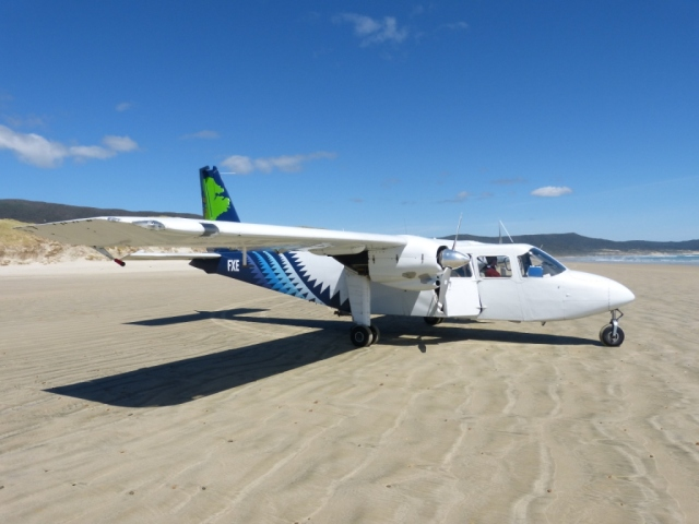 The highlight of our New Zealand Trip!  Landing on a beach on Stewart Island in a tiny 10 seater plane!!