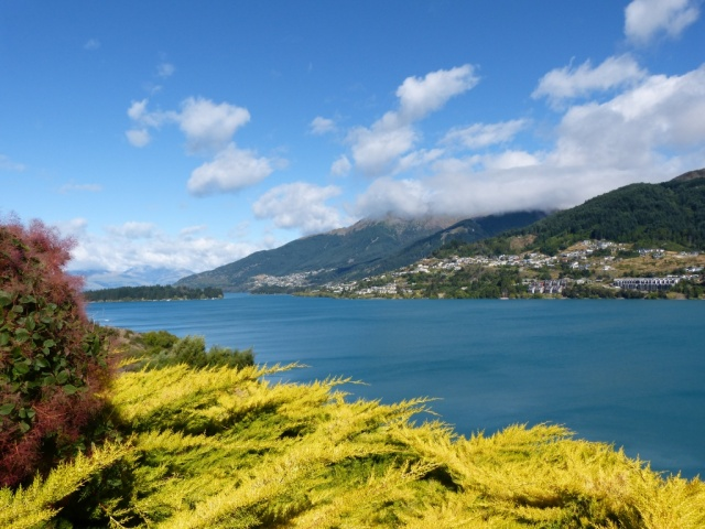 View of Queenstown across Lake Wakitipu